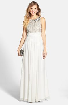 ROSE color - JS Collections Embellished Chiffon Gown available at #Nordstrom