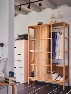 NORDKISA Open wardrobe with sliding door - bamboo. Find it here - IKEA