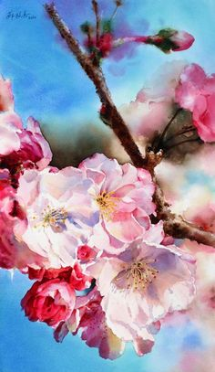 蘇牧真 Su Mu really. Watercolour Florals: Cherry Blossom by Yvonne Harry. Art Watercolor, Watercolor Flowers, Watercolor Illustration, Paintings I Love, Art Floral, Botanical Art, Painting Inspiration, Painting & Drawing, Flower Art