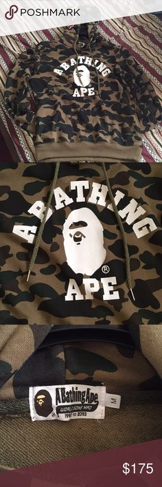 BAPE (A Bathing Ape) Hoodie 100% authentic BAPE. Camo print with WGM across hood. 9.5/10 condition. Can fit men's small or women's medium. Worn twice. Just want to get it off my hands and get at least some of my money back. Bape Tops Sweatshirts & Hoodies