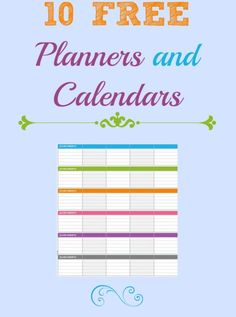 10 FREE Calendars and Planner for 2014
