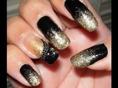 Easy Black and Gold Glitter Nails for New Years Eve!