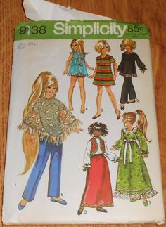 "UNCUT 9138 Simplicity Sewing Pattern 17.5"" Fashion Doll Clothes Dress Nightgown #Simplicity"