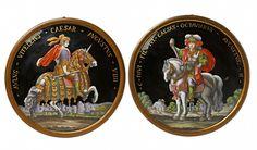 Limoges, Limoges, Ende 17. / 18. Jh.Paar Medaillons mit römischen Caesaren, Auktion 1075 Kunstgewerbe, Lot 939