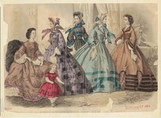 Godey's 1863, inspiration for Simplicity 1818 (two gowns on right)