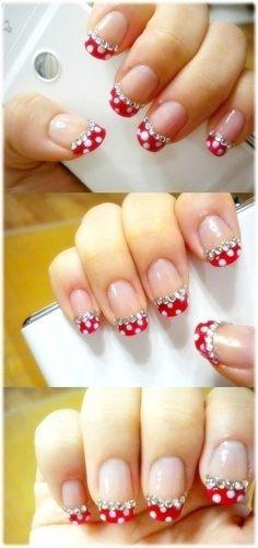 Polka dot and jewel fingernails supernails rednails blacknails whitenails nailspolish fingernaildesigns gelnaildesigns nailsdesign disneynails Fingernail Designs, Gel Nail Designs, Cute Nail Designs, Nails Design, Nails Polish, Red Nails, Polka Dot Nails, Polka Dots, Red Dots
