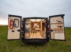 US-based Studio Hardie teamed up with Nissan to release a mobile concept van for woodworkers and craftsmen worldwide. By fitting the cargo area of a Nissan util Cad Cam, Van Storage, Tool Storage, Nissan Vans, Van Racking, Mobile Workshop, Portable Workbench, Nissan Leaf, Transporter