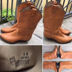 3dbd99d90d31 Cowboy Boots Light Brown Leather Made In USA Sz 9 M Western Cowgirl