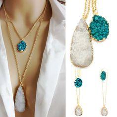 New Women Agate Quartz Teardrop Faux Stone Resin Pendant Double Chain Necklace -- BuyinCoins.com