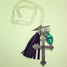 Silver cross necklace with skull pave bead by McIntoshJewelry, $20.00