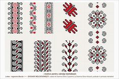 Semne Cusute: romanian traditional motifs - MOLDOVA - Bacau, Let. Folk Embroidery, Learn Embroidery, Embroidery Stitches, Embroidery Patterns, Cross Stitch Borders, Cross Stitch Patterns, Pixel Art, Stitch Design, Embroidery Techniques