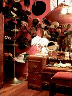 """The dressing room of Dita von Teese . Look at all those hats ! Dita wearing something """"more comfortable"""" . Vintage Dressing Rooms, Interiores Shabby Chic, Dressing Room Closet, Dream Closets, Open Closets, Retro Home Decor, Beauty Room, My New Room, Room Inspiration"""