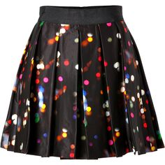 MILLY Skirt in Multicolor (4,345 HNL) ❤ liked on Polyvore featuring skirts, mini skirts, bottoms, saias, faldas, patterned skirt, a line polka dot skirt, pleated mini skirt, milly mini skirt and a line mini skirt