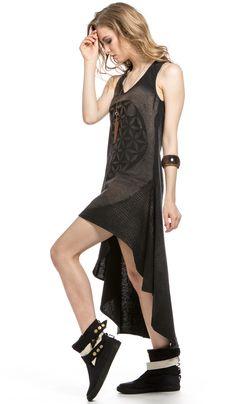 ChintaMani, Длинное платье, черное платье, асимметричное платье в стиле бохо, long black dress, boho style, asymmetric dress, 4270 рублей