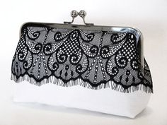 White silk dupioni with an overlay of black Victorian eyelash lace Clutch