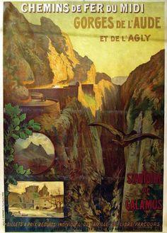 chemins de fer du midi - Gorges de l'Aude et de l'Agly - Château de Puylaurens. Axat. St Antoine de Galamus -