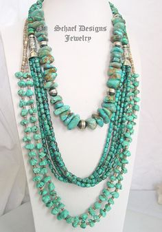 Schaef Designs kingman turquoise nugget, turquoise long multi strand, & pueblo turquoise & pin shell necklaces pairing | New Mexico