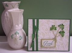 lovey St. Patrick's Day card ... like that it is photographed alongside thte design inspriration of Belleek Pottery vases ...