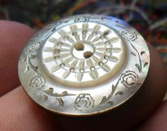 "WOW Lg. 1 1/16"" Carved Pearl Luster Antique Button 269:14"