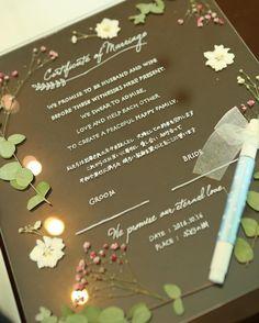 アクリル板と押し花でDIYする可愛い結婚証明書の作り方 | marry[マリー] Wedding Paper, Diy Wedding, Wedding Ceremony, Reception, Marriage Certificate, Bar Menu, Menu Design, Happy Family, Bride Groom