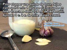 Il existe un remède miracle que les grands-mères connaissent bien pour stopper une quinte de toux. Le truc est de boire du lait chaud à l'ail. Et oui, le goût est particulier mais ça marche vraiment ! :-)  Découvrez l'astuce ici : http://www.comment-economiser.fr/remede-grand-mere-pour-calmer-une-quinte-de-toux-rapidement.html?utm_content=buffer98d19&utm_medium=social&utm_source=pinterest.com&utm_campaign=buffer