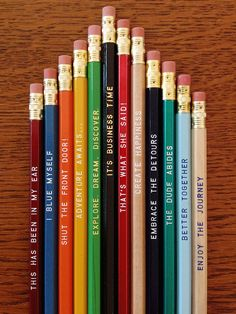 26 for 26 Mix & Match Earmark Pencils, engraved pencil gift set, customized set, Cool stocking gifts Bee Sting, Presents For Men, Tv Show Quotes, Have Some Fun, Mix N Match, Graduation Gifts, School Supplies, Office Supplies, Cool Pictures
