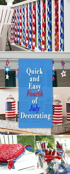 Quick and easy Fourth of July decorating! Check out these easy DIY crafts and projects you can do fast, and great with the kids!