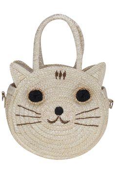 Smiling Kitty White Straw #Bag #Romwe