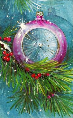 retro purple Christmas ornament