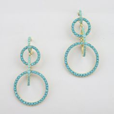 Turquoise-colored bead earrings