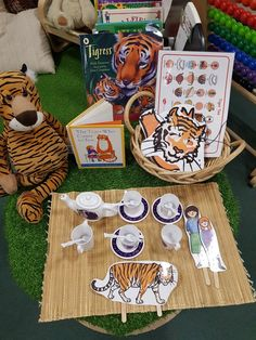 Reading area enhancement based on The Tiger Who Came to Tea. Eyfs reading area.
