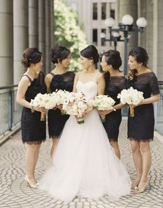 black bridesmaid dress- love the neckline and sleeves on right side dresses @Kate Mazur Klocke