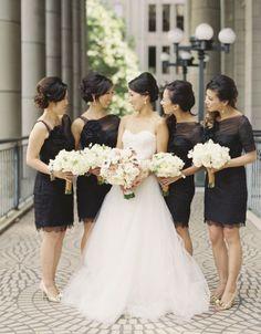 black bridesmaid dress- love the neckline and sleeves on right side dresses @Kate Mazur Klocke