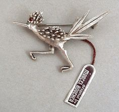 MARCEL BOUCHER Sterling Silver Brooch Roadrunner Bird Tag Signed MINT c.1960's