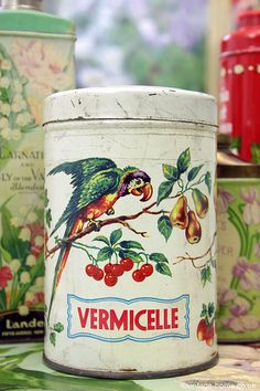 Gorgeous 1930s Vintage Parrots and Cherries Tin: www.vintage-home.co.uk
