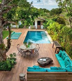 90 Small Backyard Swimming Pool Ideas and Design - backyard design Small Backyard Design, Backyard Pool Designs, Small Backyard Landscaping, Backyard Patio, Landscaping Ideas, Pergola Ideas, Outdoor Pool, Backyard With Pool, Small Patio