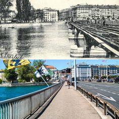 Reconstruction du pont du Mont-Blanc 1903 -> 2016 Ancienne carte postale : communesgenevoise.ch  #genève #geneve #geneva #rephotography Instagram Posts, Bridge, Mont Blanc, Cards