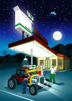 Get Fueled - Retro Hot Rod & Gas Station Poster Illustration - Automotive car illustrations Night Illustration, Graphic Illustration, Illustration Styles, Desert Drawing, Tiki Art, Building Art, Gas Station, Illustrators, Beast