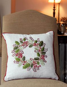 Winterberry Wreath Toss Pillow from Victorian Trading Co. Pillow Embroidery, Applique Pillows, Silk Ribbon Embroidery, Toss Pillows, Christmas Cushions, Christmas Pillow, Christmas Wreaths, Christmas Embroidery Patterns, Flower Embroidery Designs