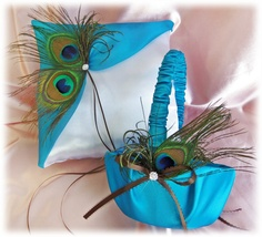 Peacock Pillow Basket - Turquoise Peacock Feathers Weddings Ring Pillow Flower Girl Basket -  Peacock Weddings Ceremony Accessories Decor, $75.00