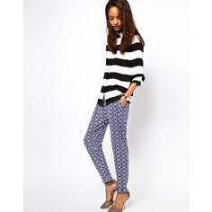 ASOS Peg Trousers in Geo Print - Stripes with patterns