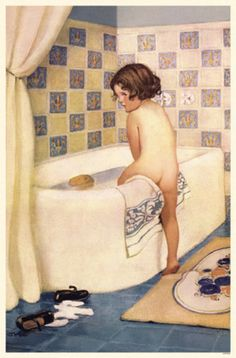 tub time- - We have this picture hanging in one of our bathrooms. I wish I knew more about it have always thought it was precious! Karen 8/8/13