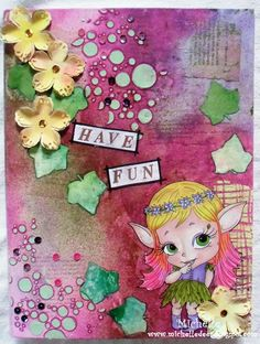 Another mixed media with image from Julia Spiri Digital Stamps, Homemade Cards, I Card, Have Fun, Mixed Media, Card Making, Paper Crafts, Create, Handmade