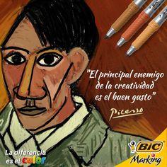 Que la creatividad te agarre trabajando. No importa cuál sea tu estilo. #LaDiferenciaEsElColor #Picasso #Quotes #color
