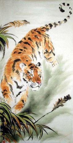 Chinese Tiger Art   Tiger,69cm x 138cm(27〃 x 54〃),4693002-z