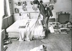 """Early everyday bohemian life of Patti Smith, photographed by Judy Linn.(3) More than 100 black and white photos of young Patti, sometimes surrounded by her lovers at the time Robert Mapplethorpe and Sam Shepard are published in """"Patti Smith 1969-1976, Photographs by Judy Linn""""."""
