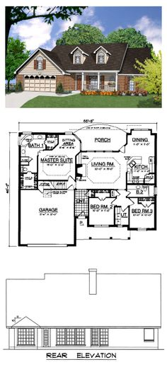Ranch Style COOL House Plan ID: chp-22005 | Total Living Area: 1659 sq. ft., 3 bedrooms & 2 bathrooms. #houseplan #ranchstyle