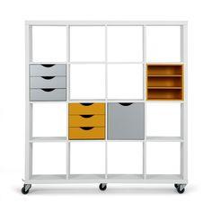 etag re 6 cases blanc et gris avec tiroirs roulettes blanc gris kubico les buffets. Black Bedroom Furniture Sets. Home Design Ideas