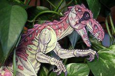 Allosaurus Dinosaur Articulated Paper Doll - unique gift for dinosaur lover