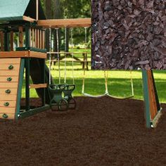 These playground mulch nuggets are nice.  Soft floor for the play area and I like the dark color